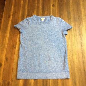 J Crew sky blue wool short sleeve sweater
